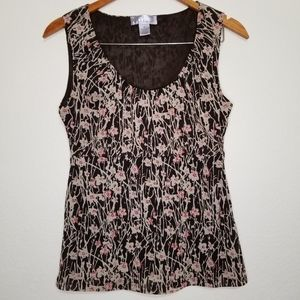 Women's Nine & Co Floral Patterned Tank Top MEDIUM